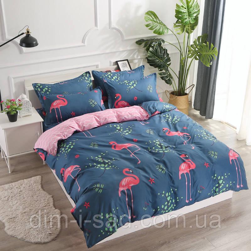 Комплект постельного белья Розовый фламинго с простынью на резинке (полуторный) Berni