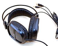 Игровые наушники A2 со светодиодной подсветкой и микрофоном - проводные компьютерные наушники USB, AUX, черные