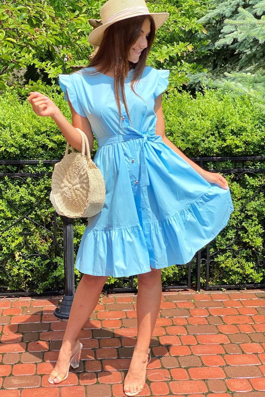 Красивое летнее платье с пояском  LUREX - голубой цвет, M (есть размеры)