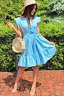 Красивое летнее платье с пояском  LUREX - голубой цвет, M (есть размеры), фото 1