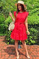 Красивое летнее платье с пояском  LUREX - красный цвет, M (есть размеры), фото 1