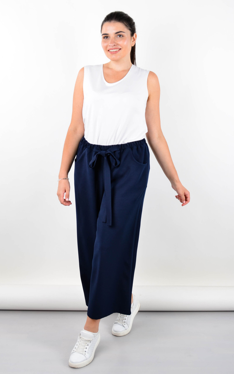 Клара. Офисные брюки женские большого размера. Синий.