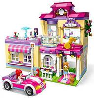 КОНСТРУКТОР Qman 2007 дом, 2 этажа, машина, фигурки, 734 детали, в коробке
