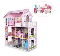 Домик кукольный MD 1204, 3 этажа, мебель