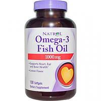 Омега-3 (рыбий жир) 150 капс 1000 мг для сердца, укрепление сосудов, улучшение зрения   Natrol USA