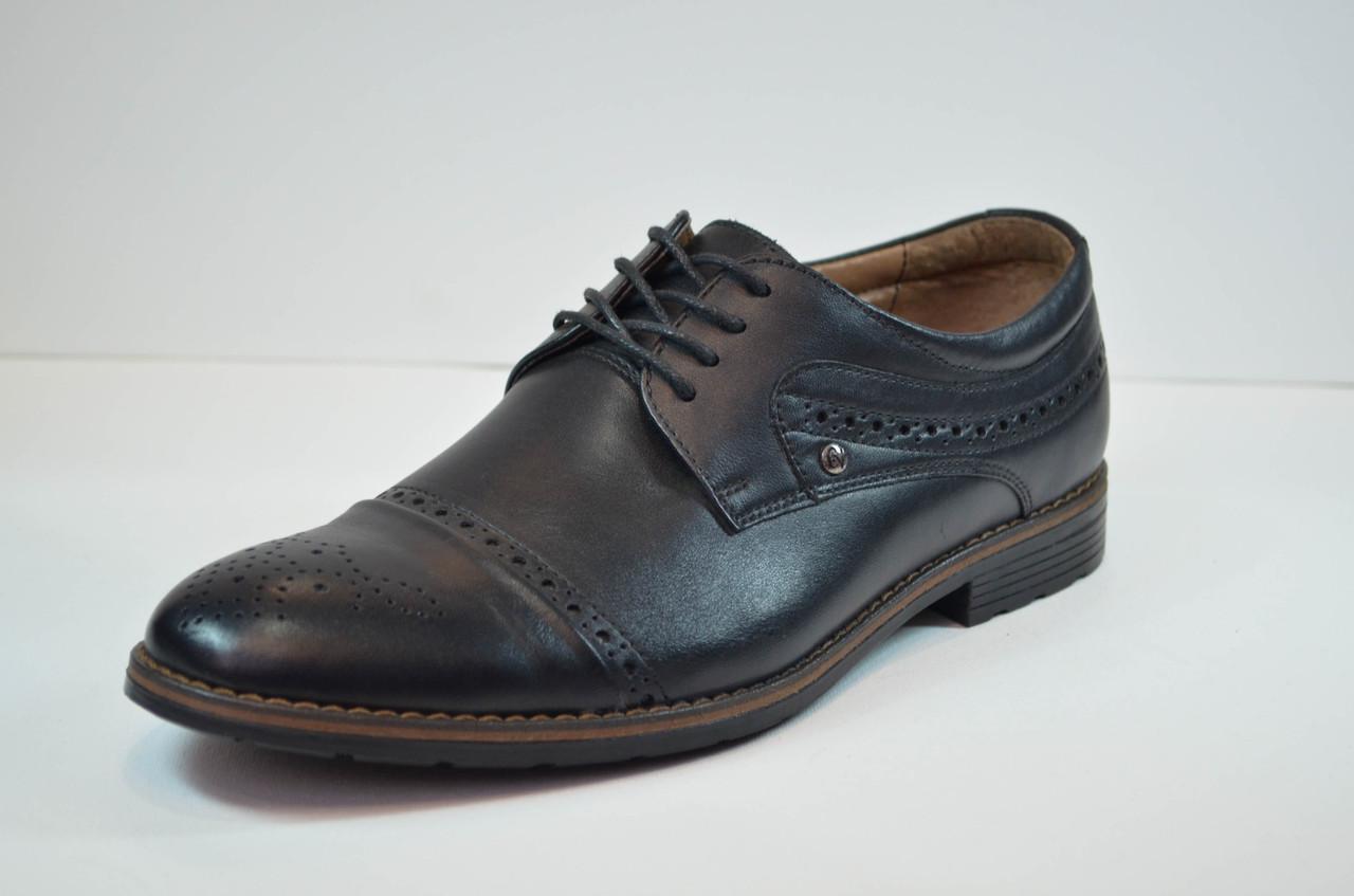 Мужские кожаные туфли броги черные Cevivo 46311