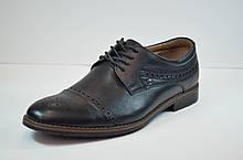 Чоловічі шкіряні туфлі броги чорні Cevivo 46311