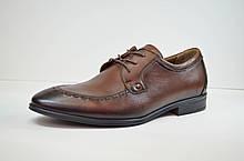Мужские кожаные туфли лоферы на шнурке рыжие Cevivo 4770