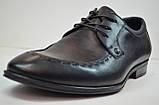 Мужские кожаные туфли лоферы на шнурке черные Cevivo 4770, фото 4