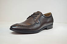Мужские кожаные туфли лоферы на шнурке коричневые Cevivo 4770