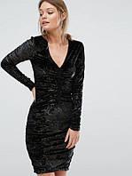 Бархатное облегающее платье с золотой отделкой New Look AS100620-23 M (79769M) Черный