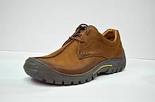 Мужские демисезонные кожаные туфли рыжие Riko 367