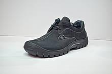 Мужские демисезонные кожаные туфли черные Riko 367