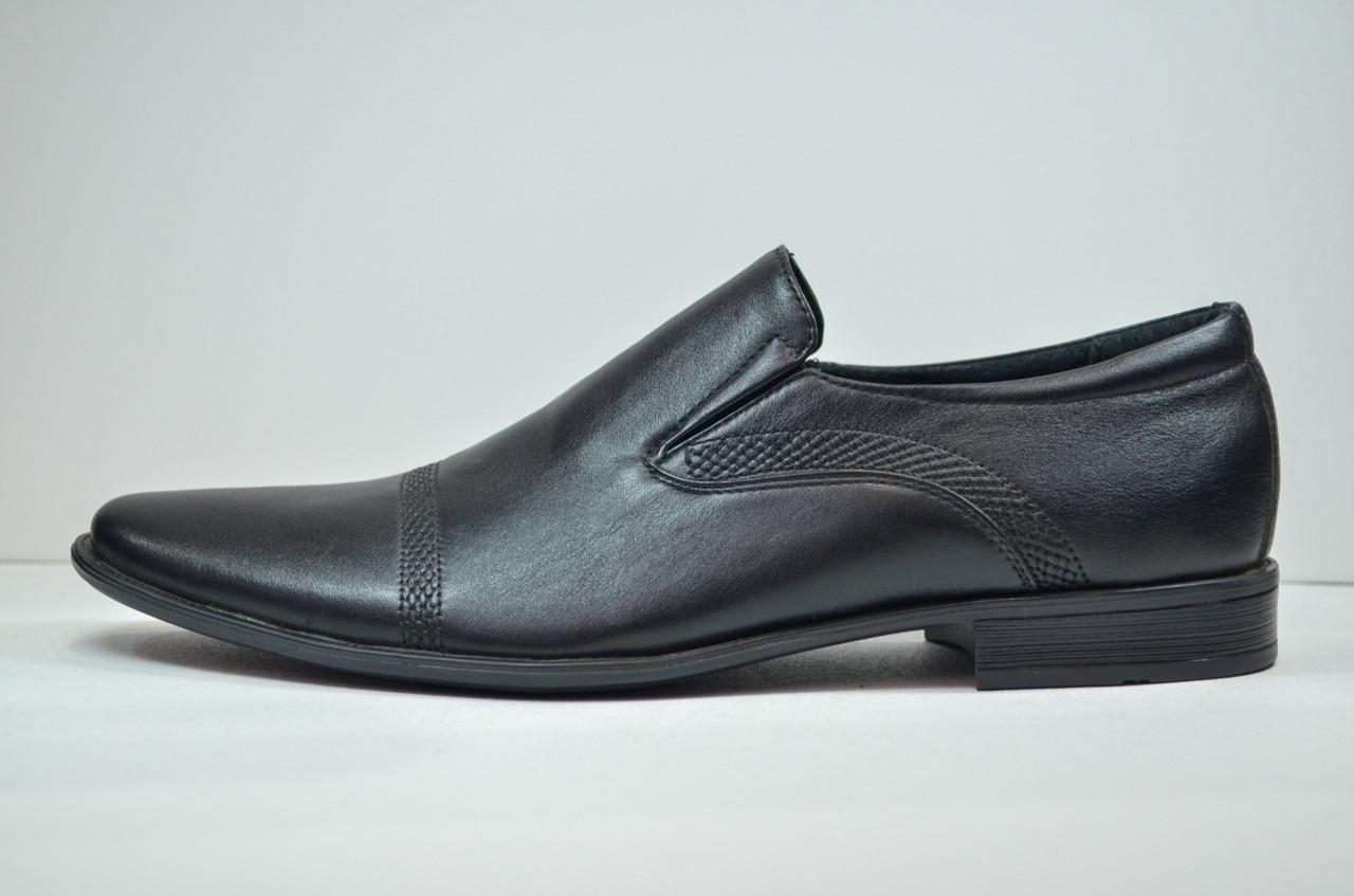 Мужские кожаные туфли на резинке черные Rondo 450