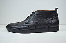 Мужские кожаные броги спортивного стиля черные высокие Safari 17101