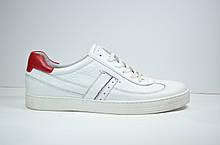 Мужские спортивные туфли кожаные кеды белые Safari 64505