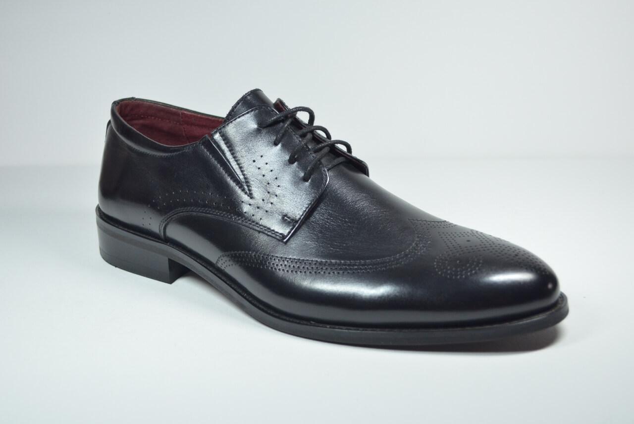 Мужские кожаные туфли броги черные Sensor Marriotti 210