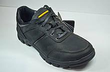 Мужские демисезонные кожаные кроссовки черные Shark 512