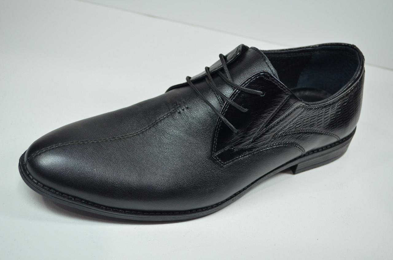 Чоловічі шкіряні туфлі чорні Slat 17104