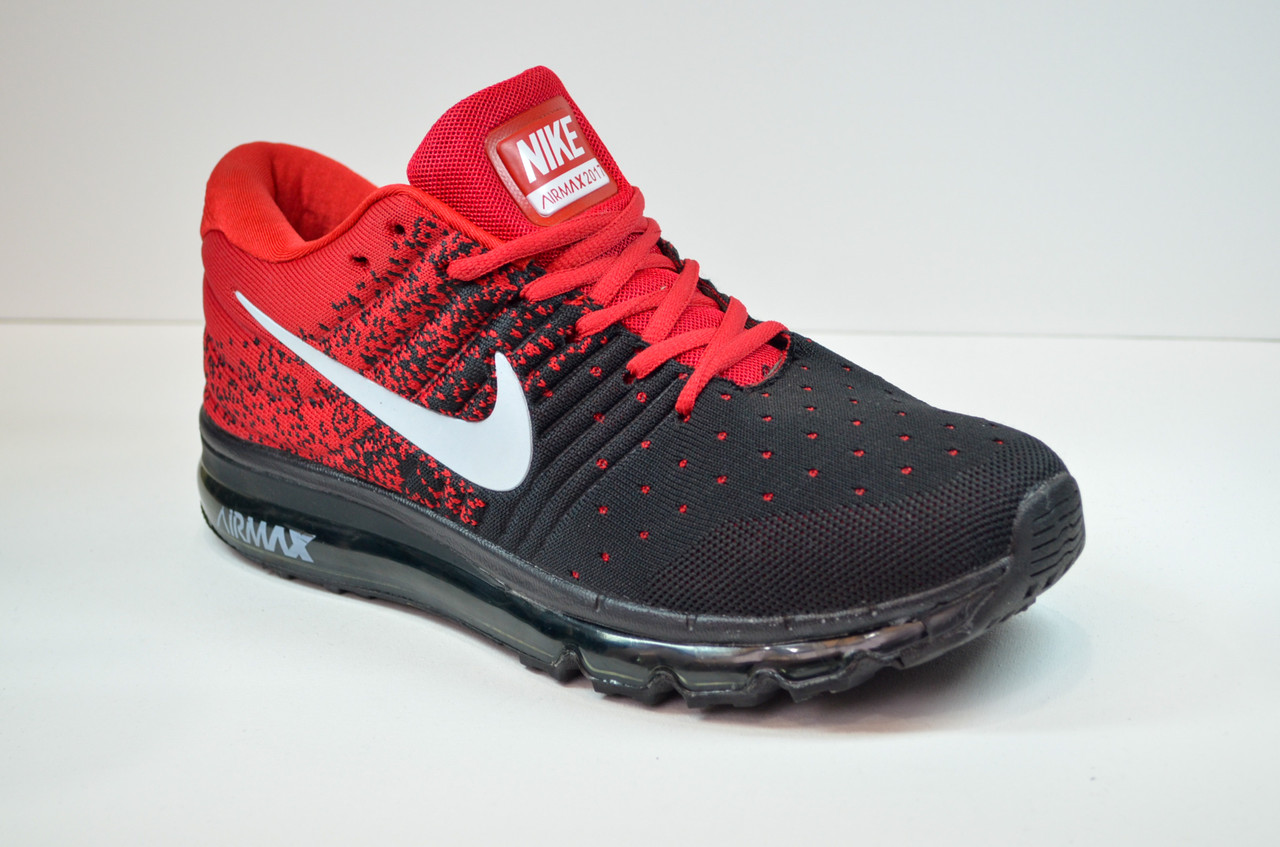 Подростковые и женские кроссовки черные с красным в стиле Air 2017 (2017 - 1)