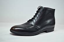 Мужские зимние кожаные ботинки черные с коричневым IKOC 3640 - 2