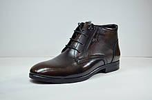 Мужские кожаные ботинки коричневые зимние L-Style 9533 - 1