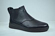 Мужские кожаные ботинки челси зимние черные Safari 15101 - 1
