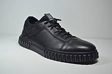 Мужские спортивные туфли кожаные кеды черные Rondo 08/0025/T
