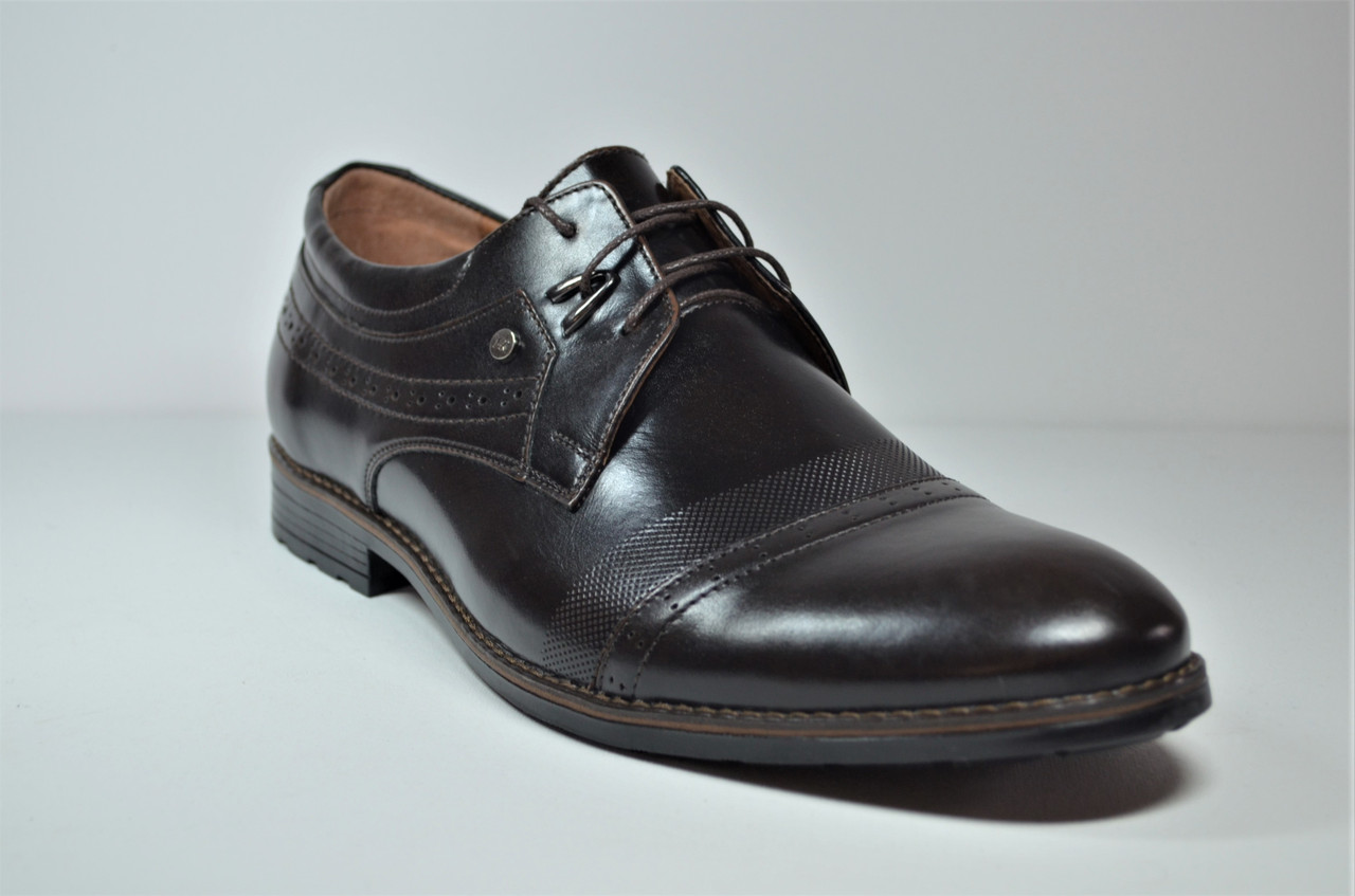Мужские кожаные туфли великаны коричневые Vivaro 785/2