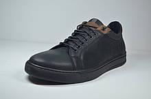 Мужские спортивные туфли кожаные кеды черные Step Wey 1970