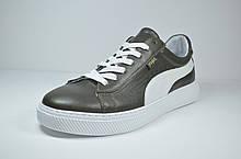 Мужские спортивные туфли кожаные кеды хаки Safari  37585
