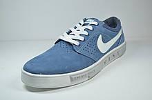 Мужские спортивные туфли кеды нубуковые светло синие в стиле N 104-2