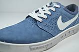 Мужские спортивные туфли кеды нубуковые светло синие в стиле N 104-2, фото 2