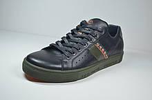 Мужские спортивные туфли кожаные кеды черные Cardio 07