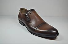 Чоловічі шкіряні туфлі руді Cevivo 5505