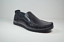 Мужские комфортные кожаные мокасины черные L-Style 636