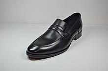 Мужские модельные кожаные туфли на резинке черные Calif 4503