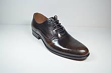 Мужские кожаные туфли полуброги коричневые L-Style 1122-1