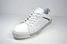 Мужские спортивные туфли кожаные кеды белые Cardio 04