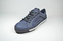 Мужские спортивные туфли кожаные кеды синие Cardio 04