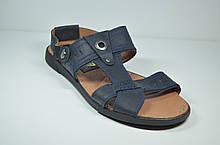 Мужские кожаные сандалии синие YDG 9161