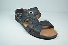 Мужские кожаные сандалии черные YDG 9161