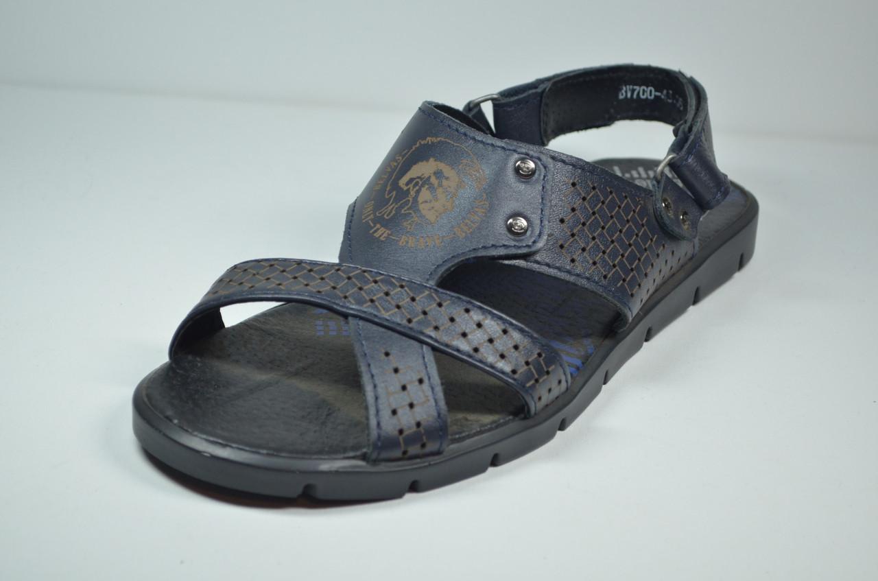 Мужские кожаные сандалии синие Belvas 700/02