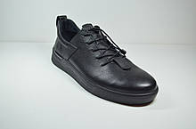 Мужские спортивные туфли кожаные кеды черные Safari  90303