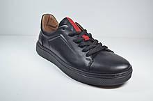 Мужские спортивные туфли кожаные кеды черные Safari 45101 - 1