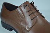 Чоловічі шкіряні туфлі руді IKOC 3416 - 8, фото 2