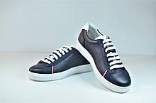 Подростковые и женские туфли кожаные кеды синие eD-Ge 278
