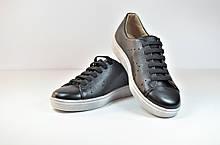 Подростковые и женские туфли кожаные кеды черные eD-Ge 178