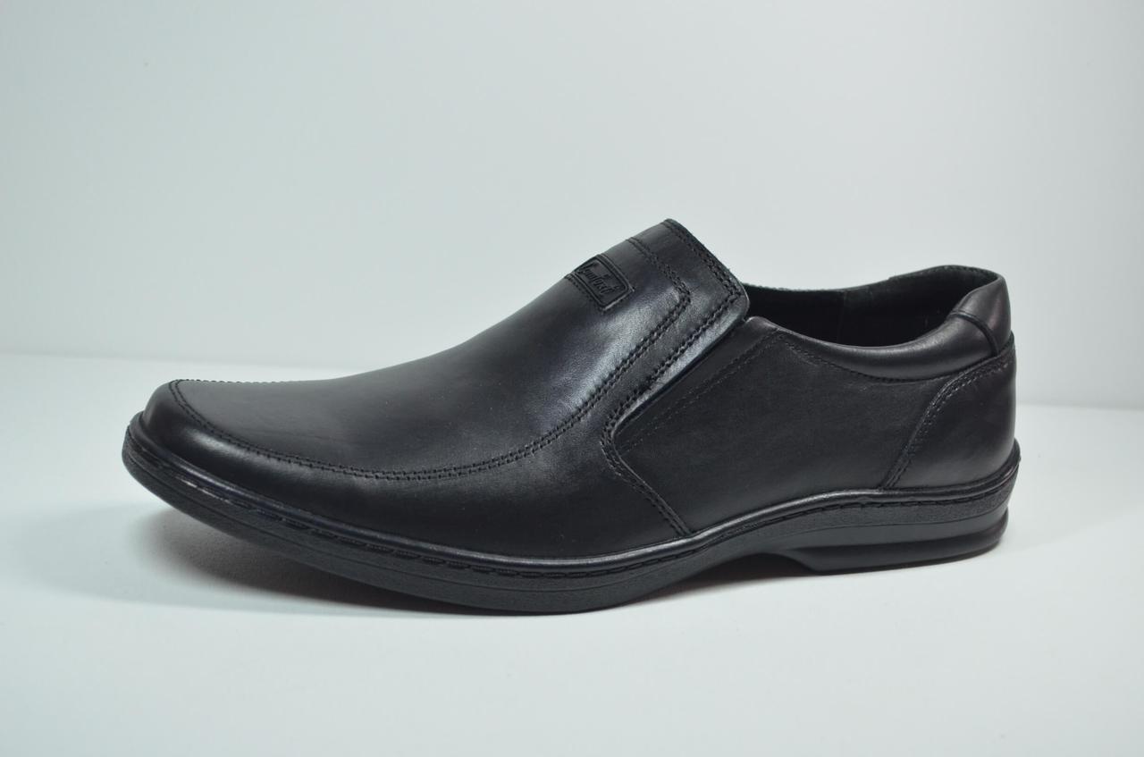 Чоловічі шкіряні туфлі чорні Konors 5178