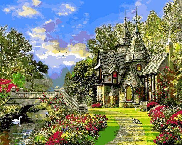 VP1155 Раскраска по номерам Дом с башенками